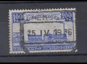 Belgien Eisenbahn-Paketmarke Ausg. 1935 Höchstwert 100Fr. ultramarin O