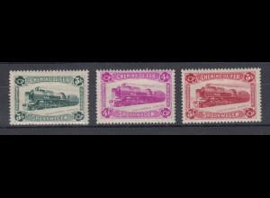 Belgien Postpaket-Marken 1934 Lokomotive Mi.-Nr. 8-10 ungebraucht *