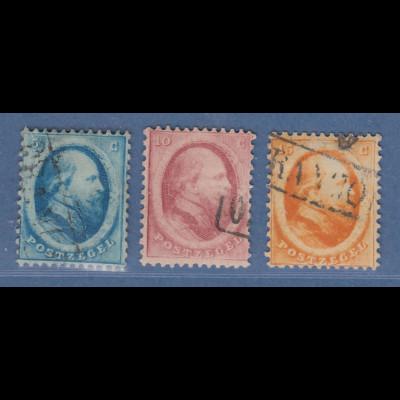 Niederlande 1864 König Willem III. Satz Mi.-Nr. 4-6 kpl. gestempelt