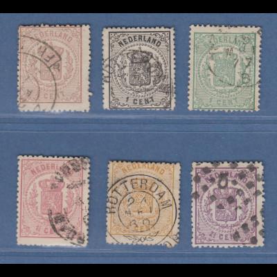 Niederlande 1869 Reichswappen Satz Mi.-Nr. 13-18 kpl. gestempelt