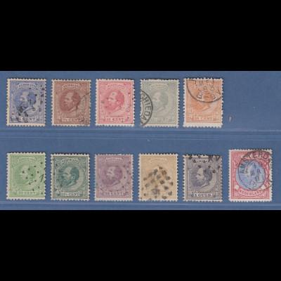 Niederlande 1872 König Willem III. Mi.-Nr. 19-29 Satz 11 Werte kpl. gestempelt