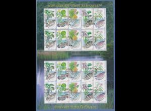 Malaysia 1999 Pflanzen und Fische Mi.-Nr. 766-775 kpl. Bogen mit Ersttagsstempel