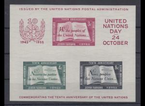 UNO New York 1955 Blockausgabe 10 Jahre UNO Mi.-Nr. Block 1 **