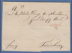 Vorphila-Brief mit klarem Einzeiler GOEDENS in rot gelaufen nach Friedeburg