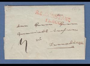 Vorphila Baden: roter R2 CONSTANZ 11. AUG. auf kleinem Brief, 1817