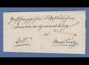Vorphila Baden: roter Einzeiler UEBERLINGEN auf Briefhülle, 1841