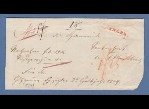 Vorphila Baden: roter Einzeiler ENGEN auf Faltbrief, 1849 Nachnahme !