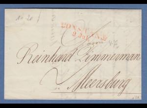 Vorphila Baden: roter CONSTANZ 9.Jul. auf Brief nach Meersburg, 1847