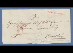 Vorphila Baden: roter UEBERLINGEN auf Brief nach Meersburg, 1838