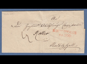 Vorphila Baden: roter R2CONSTANZ 15.DEC: auf Brief 1838
