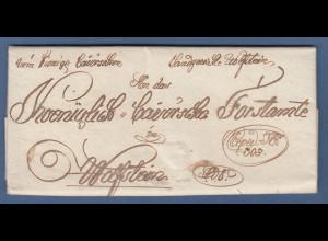Vorphila: Hübscher Brief aus Wolfstein an das Königlich Bayerische Fortamte 1822