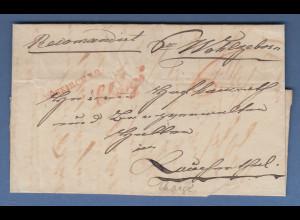 Vorphila: Chargé-Brief aus mit rotem VÖSKIRCH R.2