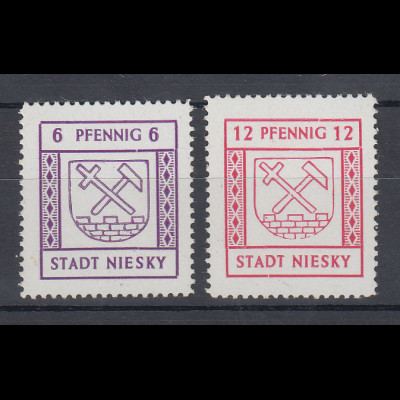 Lokalausgaben Stadt Niesky 1946 6 / 12 Pfg weißes Pap. Satz Mi.-Nr. 3-4 ** gpr.