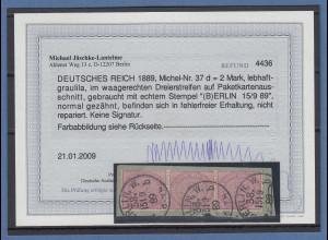 Dt. Reich 1889 2Mark lebhaftgraulila Mi.-Nr. 37d 3er-Streifen O Fotobefund BPP