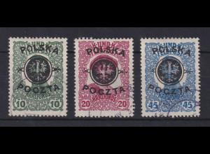 Polen 1918 Mi.-Nr. 17-19 gestempelt