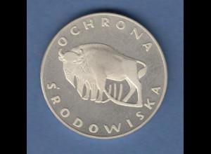 Silber-Münze Polen Naturschutz OCHRONA SRODOWISKA Bison , 1977
