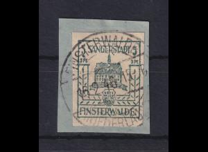 Lokalausgaben Sängerstadt Finsterwalde Mi.-Nr. 3b bläulichgrün auf Briefstück