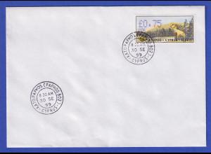 Zypern Amiel-ATM 1999 Mi-Nr. 4 Aut.-Nr.006 Wert 0,75 auf blanco-FDC
