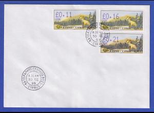 Zypern Amiel-ATM 1999 Mi-Nr. 4 Aut.-Nr.006 Werte 0,11-0,16-0,21 auf blanco-FDC