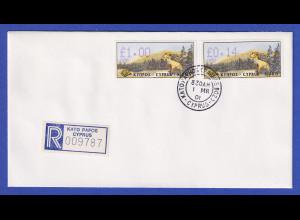 Zypern Amiel-ATM 1999 Mi-Nr. 4 Aut.-Nr.006 Werte 1,00 und 0,14 auf blanco-FDC