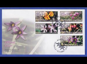 Zypern Amiel-ATM 2002 Blumen Mi-Nr. 5-9 mit Aut.-Nr. 003 auf offiz. FDC