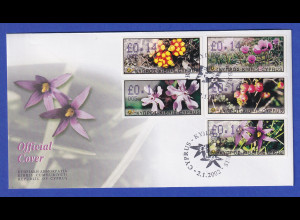 Zypern Amiel-ATM 2002 Blumen Mi-Nr. 5-9 mit Aut.-Nr. 005 auf offiz. FDC