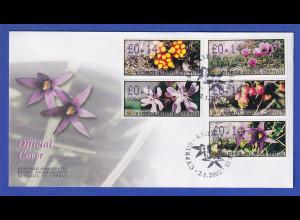 Zypern Amiel-ATM 2002 Blumen Mi-Nr. 5-9 mit Aut.-Nr. 006 auf offiz. FDC