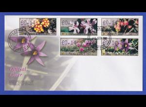 Zypern Amiel-ATM 2002 Blumen Mi-Nr. 5-9 mit Aut.-Nr. 007 auf offiz. FDC
