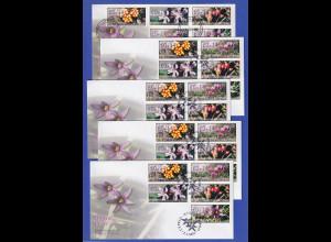 Zypern Amiel-ATM 2002 Blumen Mi-Nr. 5-9 je ein FDC aller 5 Aut.-Nr. 003-007