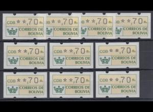 Bolivien / Bolivia ATM Wertstufe **,70 Lot 10 Stück **