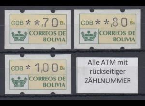Bolivien / Bolivia ATM Satz 70-80-100 ** Alle ATM mit Zählnummer !