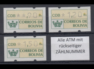 Bolivien / Bolivia ATM Satz 90-120-150 **. Alle ATM mit Zählnummer !