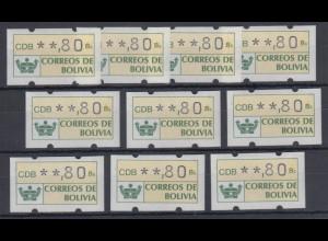 Bolivien / Bolivia ATM Wertstufe **,80 Lot 10 Stück **