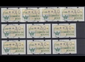 Bolivien / Bolivia ATM Wertstufe **,80 mit Ersttagsstempel LP, Lot 10 Stück