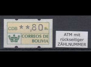 Bolivien / Bolivia ATM Wert 80 ** mit Zählnummer.