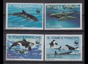 S.Tomé e Príncipe 1992 Wale Mi.-Nr. 1302-1305 Satz 4 Werte **