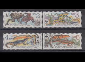 Tschechoslowakei 1989 WWF Amphibien Mi.-Nr. 3007-3010 Satz 4 Werte **