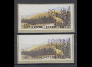 Zypern Amiel-ATM Ausgabe 1999, Mi-Nr. 2 mit RIESEN-UNTERSCHIEDEN im Vordruck !