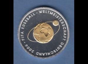 Bundesrepublik 10Euro Silber-Gedenkmünze Fussball WM 2006 vergoldet Ausgabe 2004