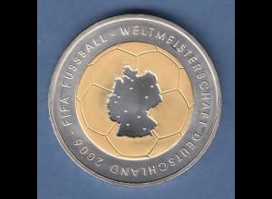 Bundesrepublik 10Euro Silber-Gedenkmünze Fussball WM 2006 vergoldet Ausgabe 2003