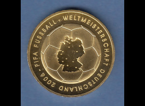 Bundesrepublik 10-Euro Silbermünze Fussball WM 2006 vergoldet Ausgabe 2003