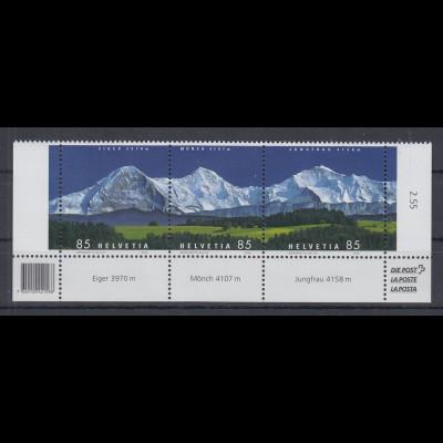 Schweiz 2006 Bergpanorama Eiger, Mönch, Jungfrau Mi-Nr. 1966-68 Unterrandsatz **
