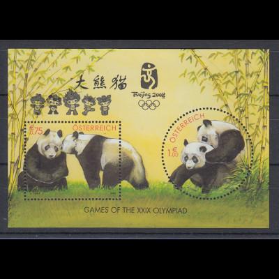 Österreich Panda-Block Mi.-Nr. Block 18 mit Aufdruck Beijing 2008 Olympiad