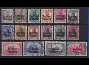Bayern Germania-Aufdrucke Mi.-Nr. 136-151 kpl. Satz 16 W. kpl. O MÜNCHEN