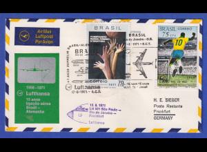 Lufthansa-Erstflugbeleg LH 501 1971 mit Brasilien Mi.-Nr. 1282 und 1246