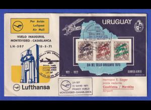Lufthansa-Erstflugbeleg LH 507 1971 mit Uruguay Block 13