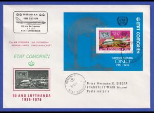 Komoren 1976 Souvenir-Brief 50 Jahre Lufthansa mit Blockausgabe
