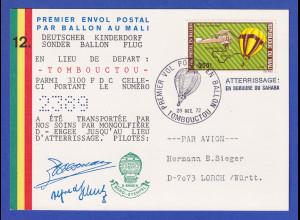 Mali Bollonpost-Postkarte Deutscher Kinderdorf-Ballonflug 1972