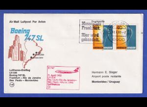 Lufthansa-Erstflugbeleg B747 LH 506 1980 mit MEF Bund Mi.-Nr. 1031