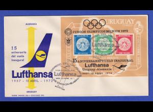 Uruguay 1972 Blockausgabe 15 Jahre Lufthansa-Flüge Mi.-Nr. Block 15 auf FDC